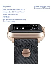 [Upgraded] Truffol 22mm NATO Luxe Woven Nylon Band for Apple Watch 42mm, Samsung Gear S3 Frontier & Classic, Huawei Watch 2 Classic - Replacement Strap with Steel Buckle (Black / Champagne Gold)