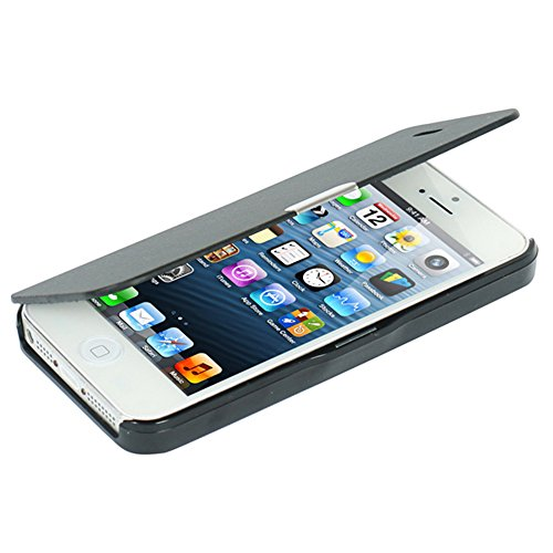 iPhone 5s Case, iPhone 5 case, MTRONX Magnetic Ultra Folio Flip Slim Leather Twill Case Cover Pouch for for Apple iPhone SE, iPhone 5s, iPhone 5 (Black)