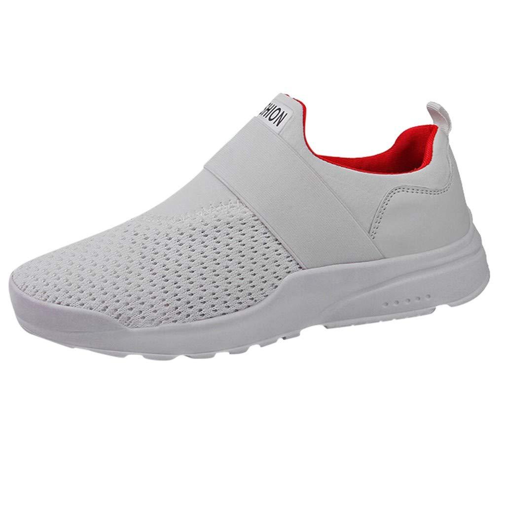Mysky Fashion Men Casual Letter Print Elastic Sport Running Shoes Men Simple Pure Color Breathable Mesh Sneaker