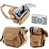 DURAGADGET Tan Brown Medium Sized Canvas Carry Bag for New Fujifilm X-Q2 /