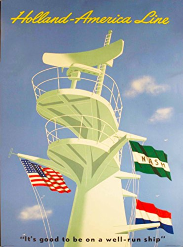 Vintage Cruise Ship - A SLICE IN TIME Holland - America Line Oceanliner Cruise Ship Vintage Travel Advertisement Art Poster Print. Measures 10 x 13.5 inches