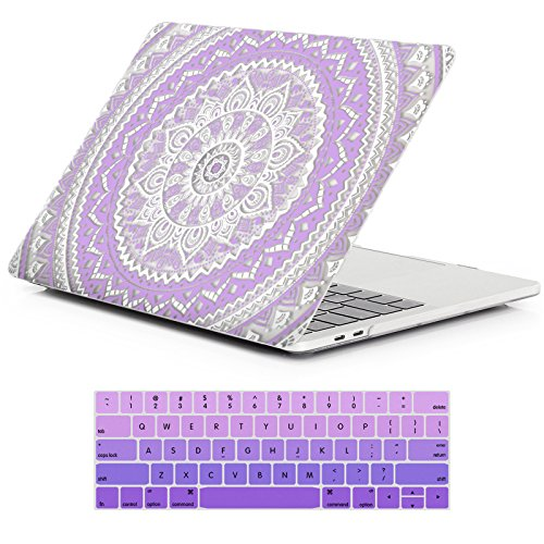 iCasso MacBook Pro 13 Case 2018 2017 2016 Release A1989/A1706/A1708,Rubber Coated Shell Cover & Keyboard Cover Compatible Newest Mac Pro 13 Model With/Without Touch Bar and Touch ID -Purple Medallion