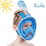 Usnork [SAFETY UPGRADE] Full Face Snorkel Mask, Easybreath Snorkeling Gear, Anti-Fog and Anti-Leak Snorkel Set, Scuba Mask with 180 Panoramic View + GIFT Towel Included (Blue Kids, X-Small)