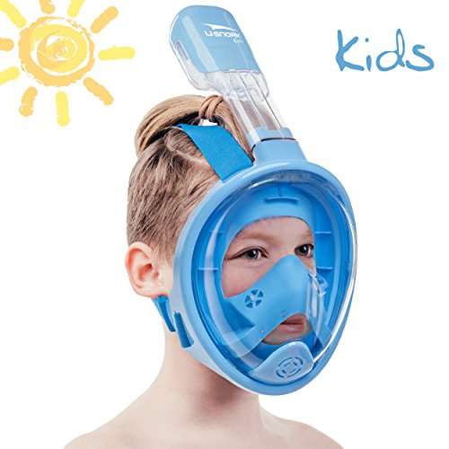 Usnork [SAFETY UPGRADE] Full Face Snorkel Mask, Easybreath Snorkeling Gear, Anti-Fog and Anti-Leak Snorkel Set, Scuba Mask with 180 Panoramic View + GIFT Towel Included (Blue Kids, X-Small) (Best Snorkel And Mask Review)