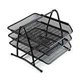 Comix 3 Tier Mesh Desk Document Organizer, Letter Tray, Stable on Desk,Perfect for Office and School B2163 Black