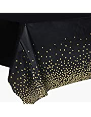 2 delar bordsdukar rektangulär plast bordsskydd 137 cm x 274 cm vattentäta bordsdukar svart med guldprickig konfetti bordsduk för examen EID bröllop födelsedagsfest dekoration