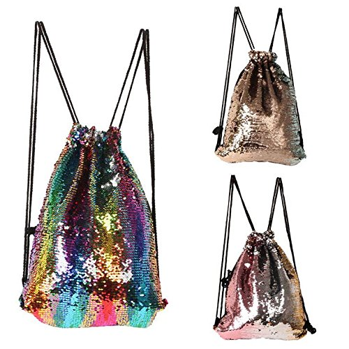 KEANER Women's Outdoor Sports Shoulder Wrap Sequin Drawstring Beam (Sequined Drawstring)