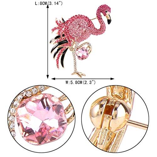 EVER FAITH Women's Austrian Crystal Graceful Enamel Flamingo Bird Brooch Pink Gold-Tone by EVER FAITH (Image #3)