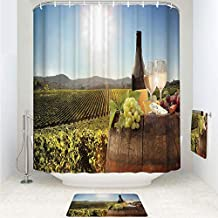 Polyester Fabric Bathroom Shower Curtain Set with Hooks,Famous Vineyard in Chianti Tuscany Agriculture,3pcs Set with Shower Curtain Bath Towel Non-Slip mat for Home Decor Bathroom