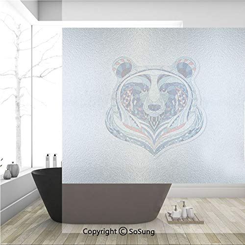 3D Decorative Privacy Window Films,African Asian Totem Tattoo Design Patterned Portrait on Grunge Backdrop Decorative,No-Glue Self Static Cling Glass film for Home Bedroom Bathroom Kitchen Office 36x3 -