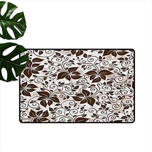 Indoor Floor mat,Brown Silhouette Petals and Leafage with Spiral Stems Gardening Plants 20