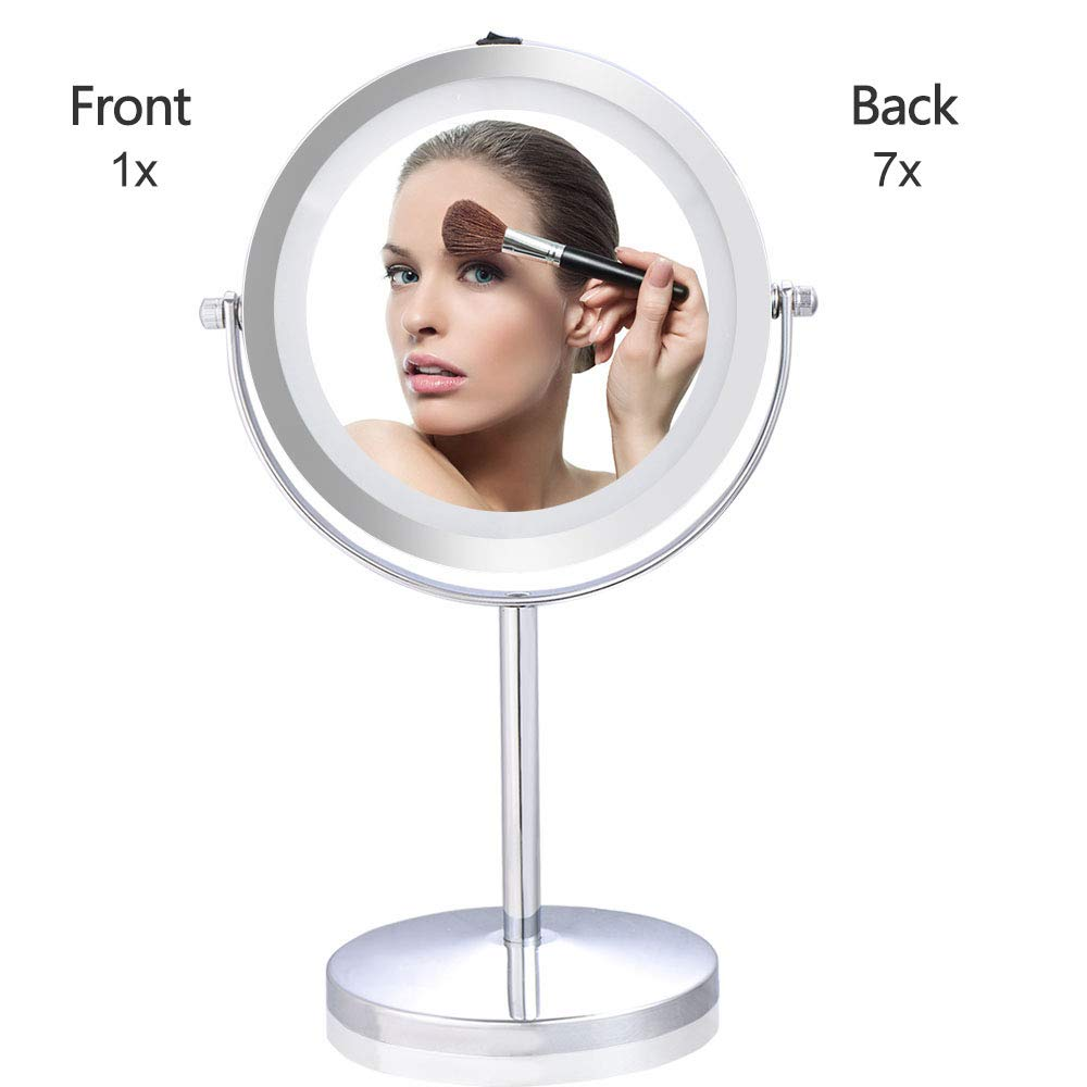 7'' Double-Sided Lighted Makeup Mirror, 1x/7x Beauty Vanity Mirror Cordless with 18 LED lights, Chrome Finish