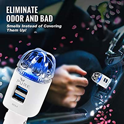 Car Air Purifier 3in1 Premium Stainless Steel Air Filter Ionizer w/Dual USB Quick Charge 3.0 USB-Eliminate Allergens Odor Smell, Smoke, Pets, Pollen Mold Bacteria w/Anti-Microbial Deodorizer (White): Automotive