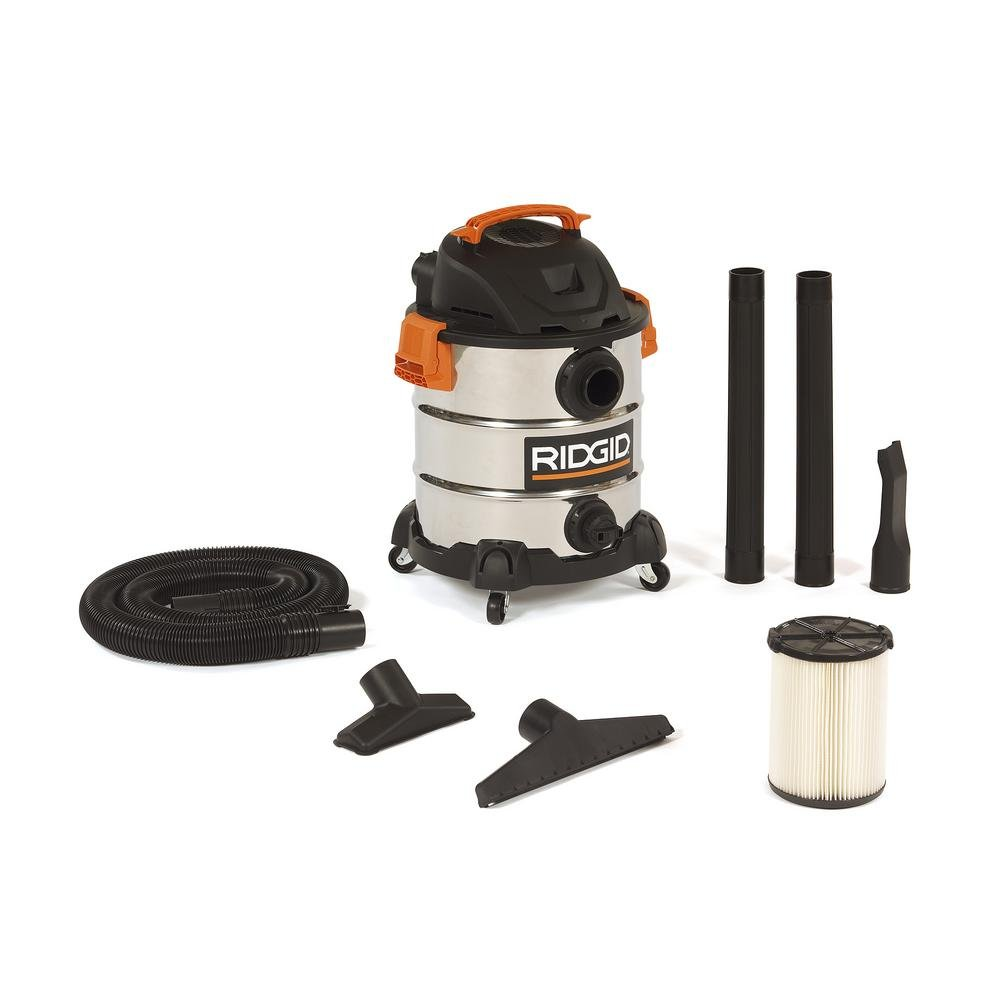 RIDGID 10 Gal. 6.0 Peak HP Stainless Wet Dry Vacuum WD1060 Vac + Toucan City Tile and Grout Brush by Ridgid + Toucan City (Image #2)