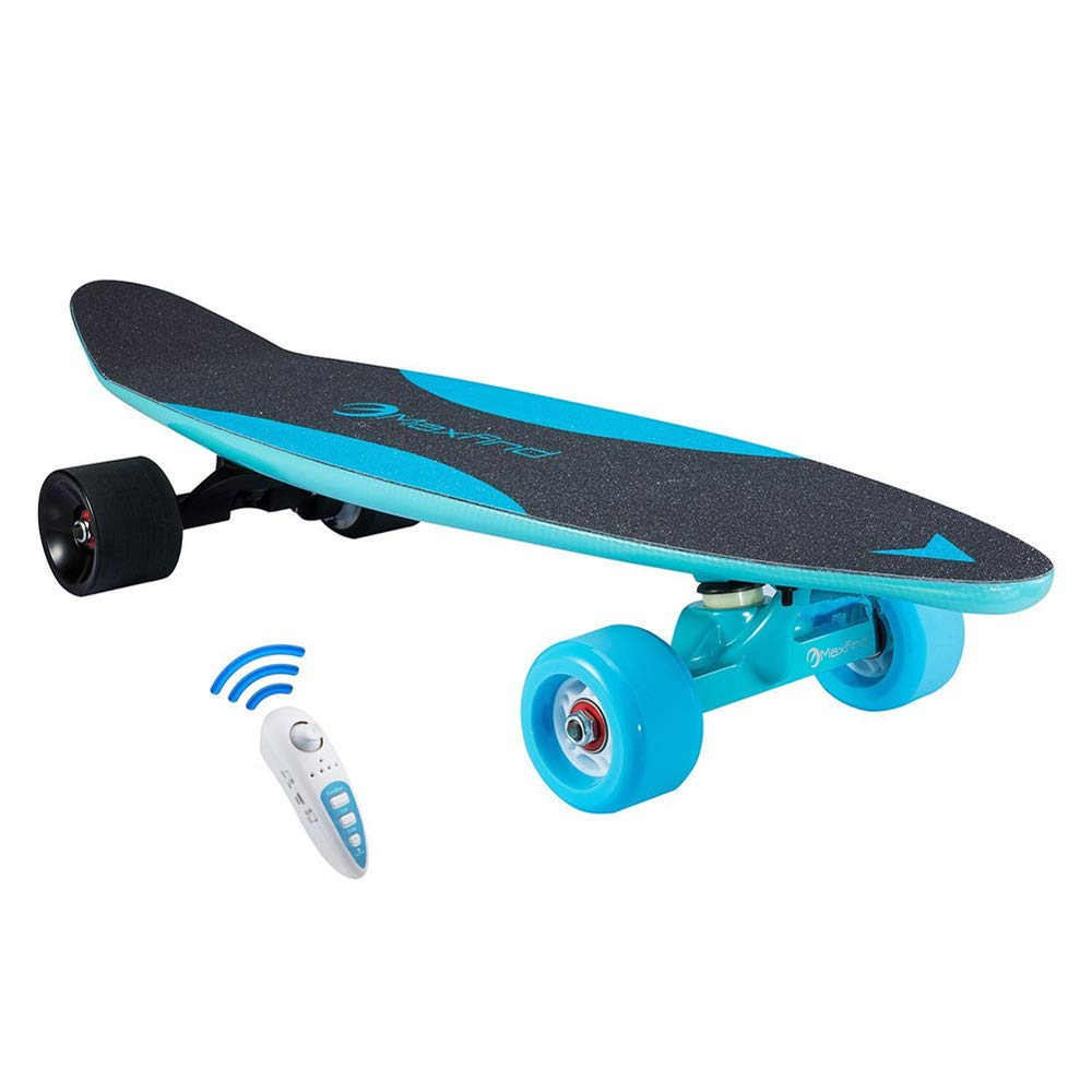 RICK-LIKE 27'' Single Motor Waterproof Electric Skateboard with Wireless Remote Control (Blue)