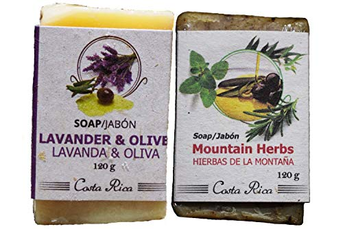 (Lavander and Olive & Mountain Herbs (2 soap pack- 4.5 oz bar)|Handmade |Antibacterial | Natural moisturizer| Acne| Free radicals |Stretch marks |Antioxidants |Cleanser)