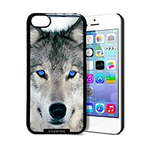 Shawnex Blue Eyed Wolf Face Wolves iPhone 5C Case - Thin Shell Plastic Protective Case iPhone 5C Case hjbrhga1544