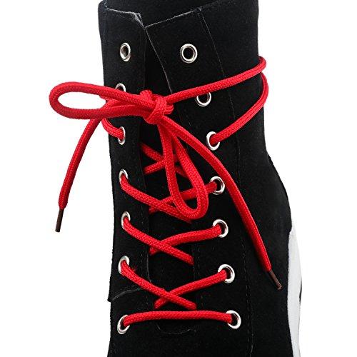 YE Damen Flache Ankle Boots Plateau Stiefeletten mit Schnürung Bequem Freizeit Sport Schuhe Schwarz