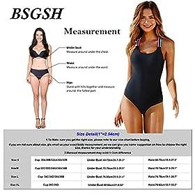 - 51sjLTypDXL - BSGSH Women's Strappy Tummy Control Monokini One Piece Swimsuit Retro Bathing Suit