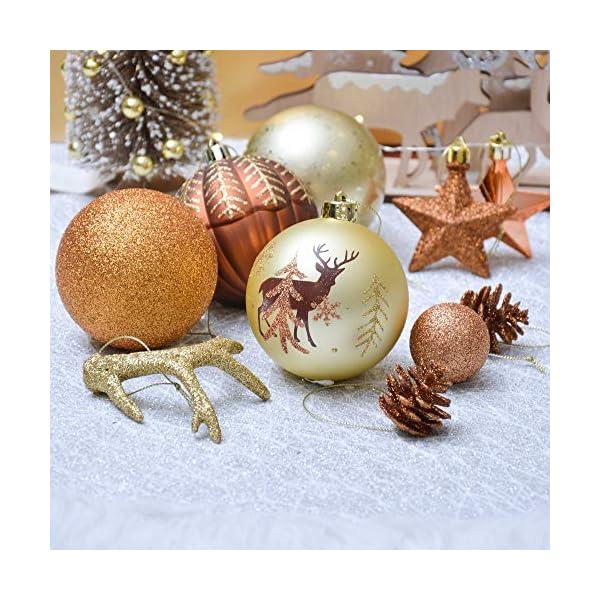 Valery Madelyn Palle di Natale 60 Pezzi di Palline di Natale, 3-5 cm di Rame del Bosco e Oro Infrangibile Ornamenti di Palla di Natale Decorazione per la Decorazione Dell'Albero di Natale 7 spesavip