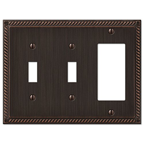 Amerelle 54TTRVB Georgian Aged Bronze Cast 2 Toggle 1 Rocker Wallplate by Amerelle