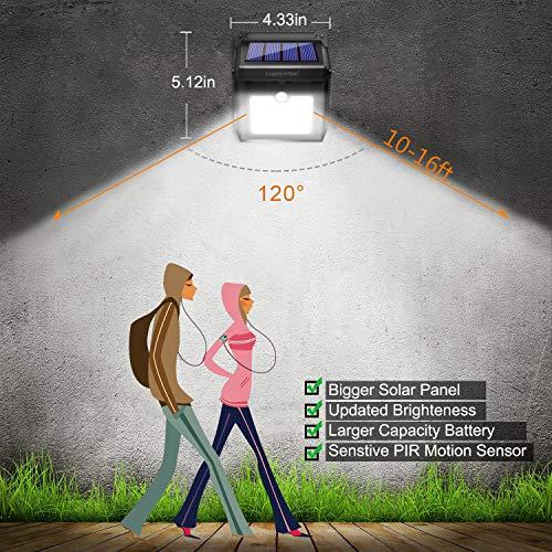 28 LEDs Outdoor, Luposwiten Solar Sensor Wireless Lights, 400 Solar Lights Steps Garage Patio(4-Pack)