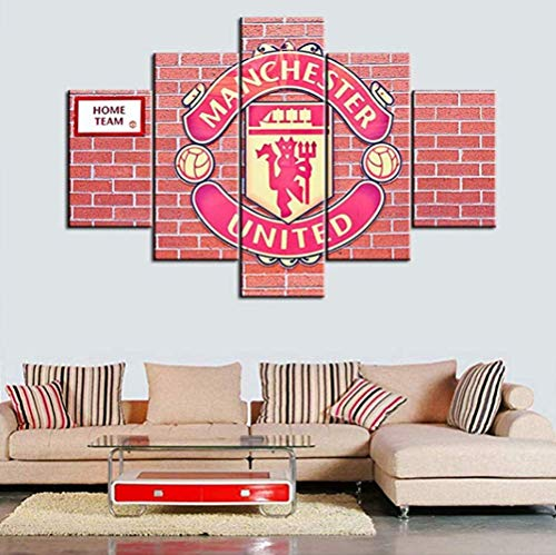 ZZXINK 5 Piece Soccer Sports Wall Art Modern Canvas Picture Artwork Manchester United Football Club Logo Contemporary Wall Art Prints for Home Decoration