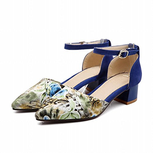 Charm Foot New Fashion Womens Chunky Heel Mary Jane Pumps Shoes Blue Ck39k24Zv