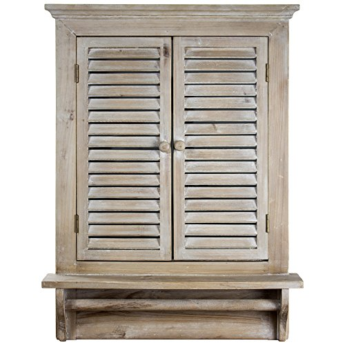 "American Art Decor Rustic Country Window Shutter Wall Vanity Accent Mirror with Shelf and Towel Rod (28.25""H x 21""L x 4.75""D)"