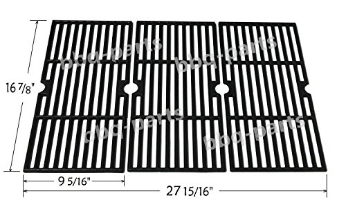 Hongso PCH763 Cast Iron Cooking Grid Replacement for Select Gas Grill Models by Charbroil, Kenmore and Others, Set of 3 (Grates Bbq Replacement)