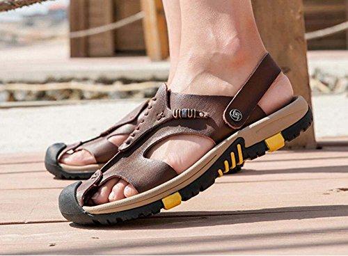 pantofola traspiranti 45 in Baotou traspirante con uomo taglie suola estate 38 scarpe Ydxwan Brown casual antiscivolo da Dark sandali in pelle britannica pelle spessa Sandali Txn4Y5B
