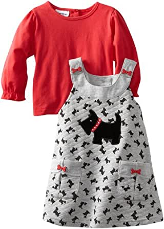Blueberi Boulevard Baby Girls' Scotty Printed Knit Jumper With Knit Top, Red, 12 Months
