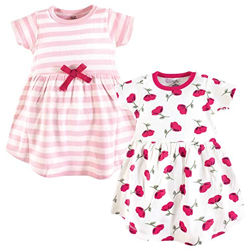 Touched by Nature Baby Girl Organic Cotton Dresses, Petals Short Sleeve 2-Pack, 3-6 Months (6M)