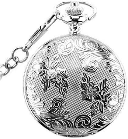 Huaib Taschenuhr Taschenuhr, mechanische Uhr Doppel Öffnen des Deckels, Flip Hohle Taschen-Uhr-Halskette, Ketten Weiblich Männlich Steam Punk, Geschenk Uhren Uhr