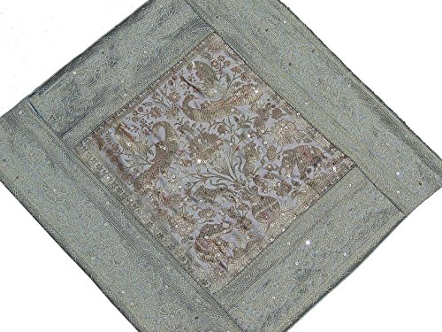 Gray, Silver and Pale Gold Zari Brocade Silk Blend Sari Decorative Sequin Work Cushion COVER with Elephant and Peacock Pattern Weave - from Varanasi, India: 16 Inch x 16 Inch