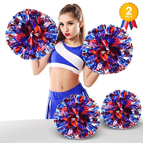 ANALAN 21 Colors Pack of 2 Foil Plastic Metallic Cheerleading Pom Poms for Cheer Sport Kids Adults(Blue and red and Silver) ()