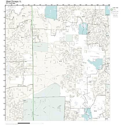 Amazon Com Zip Code Wall Map Of West Chicago Il Zip Code Map