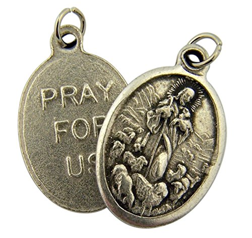 [Silver Toned Base the Good Shepherd Jesus Christ with Flock Medal, 1 Inch] (Jesus Christ Medal)