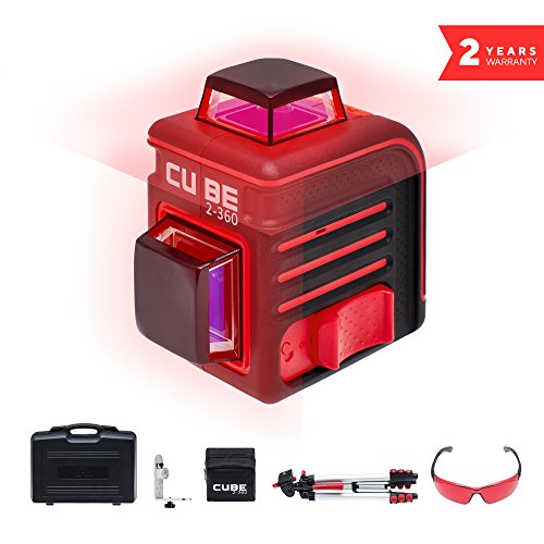 ADA Cube 2 x 360 Ultimate Edition, Laser Level Complete Kit, Crossline Self-Leveling Laser Level 20 Meters (65 feet) and 70 Meters (229 feet With Laser Detector) (Crossline Laser Level Kit)