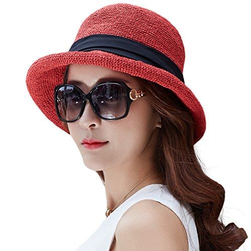 Siggi Womens Floppy Summer Sun Beach Straw Hats UPF Packable Bucket Cloche Hat 56-59cm (Brim Cloche)
