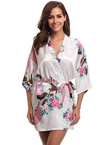 - Aibrou Women's Kimono Robes Peacock and Blossoms Satin Silk Nightwear Short Style (M, White)