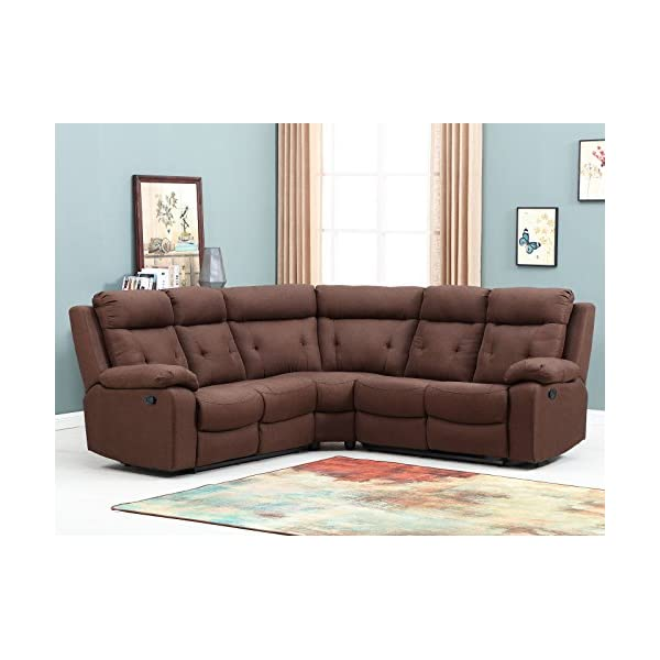 Blackjack Furniture 9443-BROWN Albany Collection Fabric Upholstered Reclining Sectional, 156