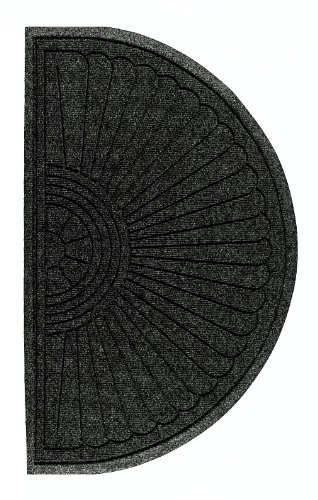 M+A Matting 272 Waterhog Grand Classic Polypropylene Fiber Half Oval Entrance Indoor/Outdoor Floor Mat, SBR Rubber Backing, 2.3' Length x 4' Width, 3/8
