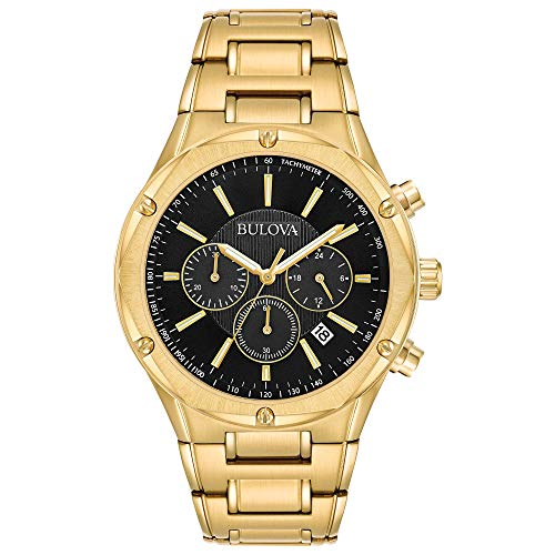 (Bulova Men's Goldtone Chronograph Watch, Black Dial )