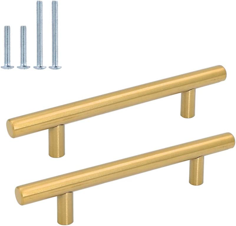 Bathroom Cabinet Handles Wardobe Drawer Knobes Gold Goldenwarm LSJ12GD 192mm Hole Centers Stainless Steel Kitchen Handles Brushed Brass 15 Pack