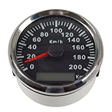 Adoner 1pc 85mm GPS Speedometers Speedometer Moto 0-200km/h Speed Indicators Tuning Gauges Speed Odometers with Backlight and GPS Antenna Black