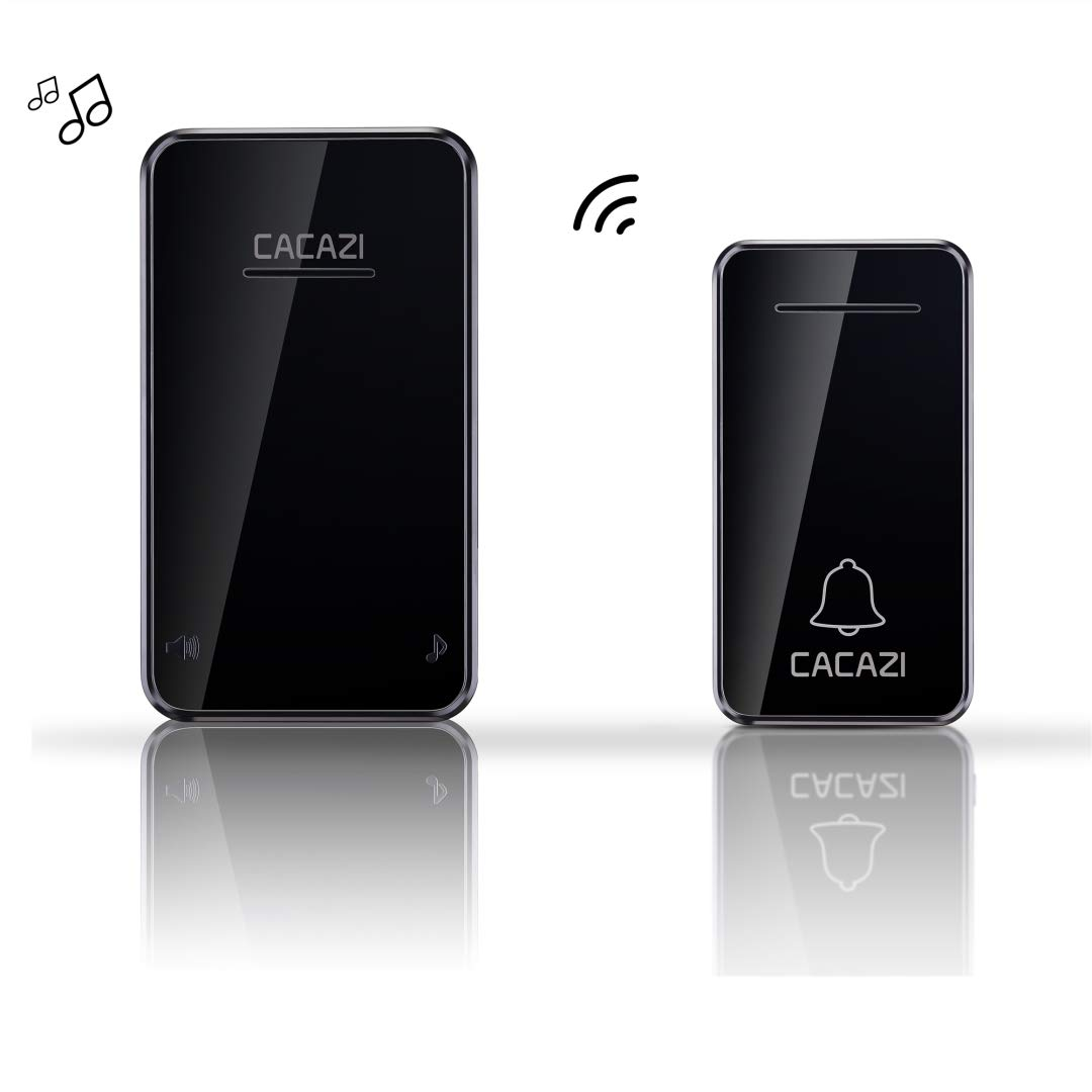 CACAZI Wireless Doorbell Operating at Over 650 feet Range with Over 46 Chimes No Batteries Required for Sender and Receiver Black