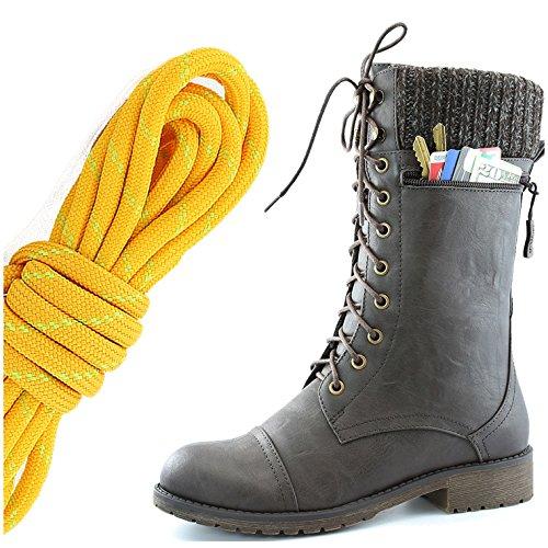 Dailyshoes Womens Combat Stijl Lace Up Enkellaarsje Ronde Neus Militaire Knit Creditcard Mes Geld Portemonnee Pocket Laarzen, Mandarijn Lime Bruin Pu