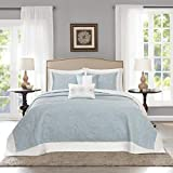 Extra Long King Bedspread 5 Piece 120 x 118 Oversized Light Blue King Bedspread To The Floor, Extra Long Floral Bedding Xtra Wide Drops Over Edge Frame, Drapes Down Sides Hangs Over Bed Touches Flooring, Microfiber