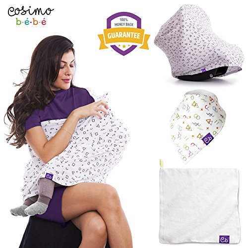 Breastfeeding nursing cover - Baby carseat canopy cover - Maternity feeding scarf organic - Baby carrier cover - Newborn breastfeeding stroller cover - Bandana bib + Towel